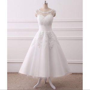 Dresses & Skirts - Vintage Inspired Tea-Length Lace Wedding Dress